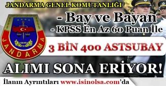 Jandarma Genel Komutanlığı 3 Bin 400 Astsubay Alımı Başvuruları Sona Eriyor!