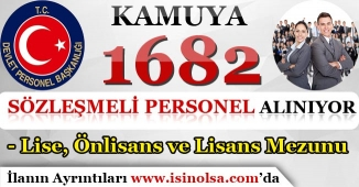 Sözleşmeli Olarak Kamuya 1682 Memur Personel Alınıyor! Lise, Önlisans ve Lisans Mezunu