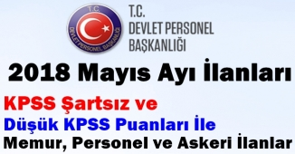 Mayıs 2018 KPSS Şartsız ve Düşük KPSS (50-60-70) Puanları ile Memur, Personel ve Asker Alım İlanları