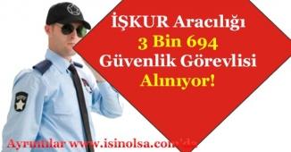 İŞKUR Üzerinden 3 Bin 694 Güvenlik Görevlisi Alımı Yapılıyor!