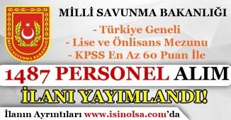KPSS En Az 60 Puan İle MSB Bin 487 ( 1487 ) İşçi Personel Alım İlanı Yayımladı!