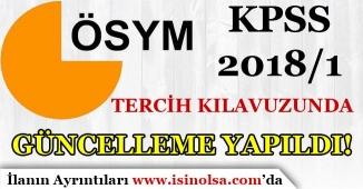 ÖSYM KPSS 2018/1 Tercih Kılavuzunda Güncelleme Yaptı!