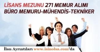 Kamuya Lisans Mezunu 271 Memur Alımı Yapılacak! (Büro Memuru, Tekniker, Mühendis)