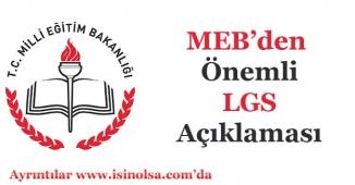 Milli Eğitim Bakanından LGS İle İlgili Açıklama Geldi!