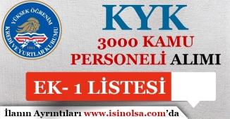KYK 3000 Kamu Personeli Alımı Ek-1 Liste İllere Göre Dağılımı
