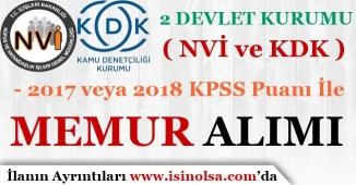 2 Devlet Kurumu ( NVİ ve KDK ) 30 Memur Alımı Yapıyor! 2017 ve 2018 KPSS İle