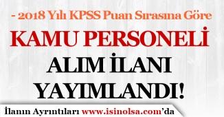 2018 Yılı KPSS Puan Sırasına Göre Belediye'ye Kamu Personeli Alım İlanı Yayımlandı!