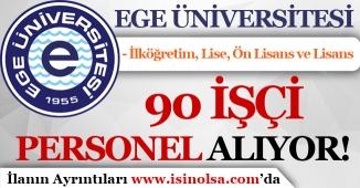 Ege Üniversitesi 90 İşçi Personel Alım! İlköğretim, Lise, Ön Lisans ve Lisans
