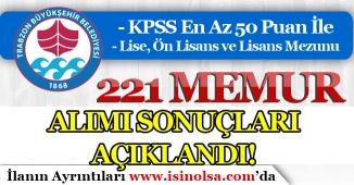 Trabzon Büyükşehir Belediyesi Ve TİSKİ 221 Memur Alımı Başvuru Sonuçları Açıklandı!