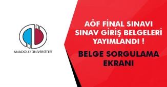Anadolu Üniversitesi Açıköğretim Fakültesi (AÖF) 2018-2019 Final Sınav Giriş Belgeleri Yayımlandı