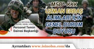 MSB Kara Kuvvetleri Komutanlığından Uzman Erbaş Adayları İçin Önemli Duyuru