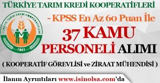 Tarım Kredi Kooperatifleri KPSS En Az 60 Puan İle 37 Kamu Personeli Alımı Yapıyor!