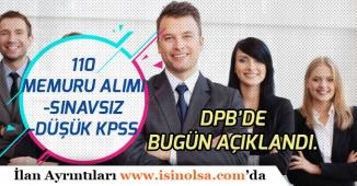 DPB'de 110 Memur Personel Alım İlanı Açıklandı! Düşük KPSS ile