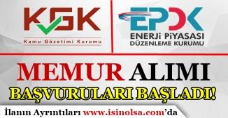 EPDK ve KGK Memur Alımı Başvuruları Başladı! Başvuru Ekranı