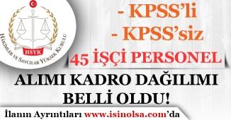 Hakim ve Savcılar Kurulu KPSS'li KPSS'siz 45 İşçi Personel Alımı Kadro Dağılımı Belli Oldu!