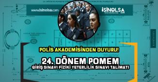 Polis Akademisi 24. Dönem POMEM Giriş Sınavı Fiziki Yeterlilik Sınavı Duyurusu Yaptı