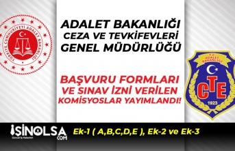 Adalet Bakanlığı ve CTE ( Ek-1, Ek-2 ve Ek-3 ) Başvuru Formu ile Sınav Merkezleri