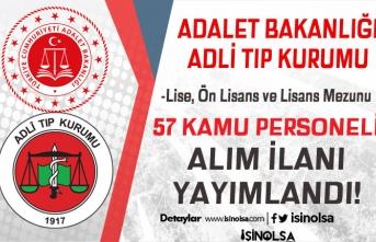 Adalet Bakanlığı ATK 57 Kamu Personeli Alımı İlanı! Lise, Ön Lisans ve Lisans