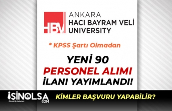 ANkara Hacı Bayram Veli Üniversitesi KPSS'siz 90 Yeni Personel Alımı İlanı