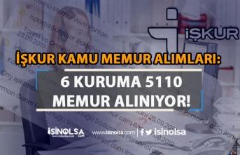 İŞKUR Kamu Memur Alımı İlanları: 6 Kuruma 5110 Personel Alınıyor!