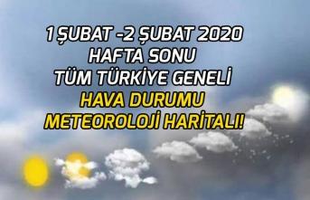 1 Şubat -2 Şubat Hafta Sonu Tüm Türkiye Geneli Hava Durumu Meteoroloji Haritalı!