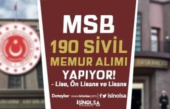 Milli Savunma Bakanlığı ( MSB ) 190 Sivil Memur Alımı Yapacak! En Az Lise Mezunu