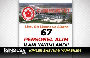 Sivas Cumhuriyet Üniversitesi 67 Personel Alıyor! Lise, Ön Lisans ve Lisans