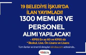 KPSS li KPSS siz İŞKUR İle 19 Belediye 1300 Memur Personel Alımı Yapacak!