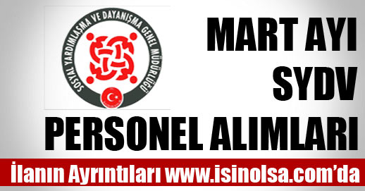 Mart Ayı SYDV Personel Alımları