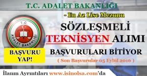 Adalet Bakanlığı Sözleşmeli Teknisyen Alımı Başvuruları Bitiyor - Son Başvuru 05 Eylül