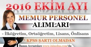 Ekim Ayı Memur Personel Alımları 2016