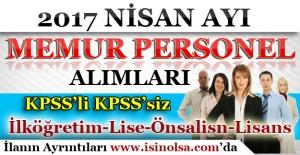 Nisan Ayı Memur Personel Alımları