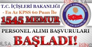 İçişleri Bakanlığı KPSS 60 Puan İle 1545 Memur Personel Alımı Başladı!