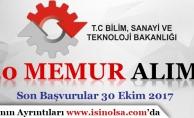 Bilim Sanayi ve Teknoloji Bakanlığı 20 Memur Alımı Yapıyor!