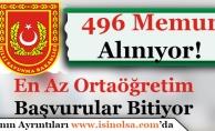 Milli Savunma Bakanlığı 496 Memur Alımı Başvuruları Bitiyor! En Az Ortaöğretim