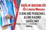 Sağlık Bakanlığı Ön Lisans Mezunu 2 Bin 592 Personel Alımı Kadro Dağılımı