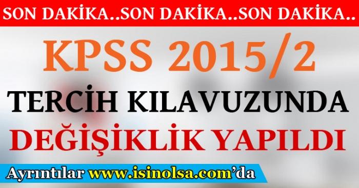 ÖSYM 2015/2 KPSS Tercih Kılavuzunda Değişiklik Yaptı