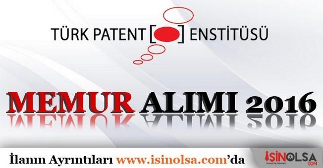 Türk Patent Enstitüsü Memur Alımı 2016