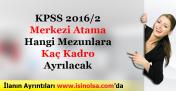 KPSS 2016/2 Merkezi Yerleştirme Ataması Hangi Mezunlara Kaç Kadro Ayrılacak