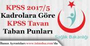 Sağlık Bakanlığı KPSS 2017/5 Kadrolara Göre Taban ve Tavan KPSS Puanları
