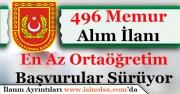 Milli Savunma Bakanlığı En Az Ortaöğretim 496 Memur Alıyor! Başvurular Nasıl Yapılır?