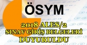 2018 ALES/2 Sınav Giriş Belgeleri ÖSYM Tarafından Açıklandı