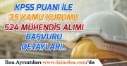 Kamu Kurumlarına KPSS Puanı ile 524 Mühendis Alımı Yapılacak!
