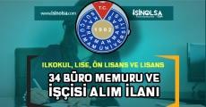 KSÜ 34 Büro Memuru ve İşçi Alımı İlanı Yayımlandı!