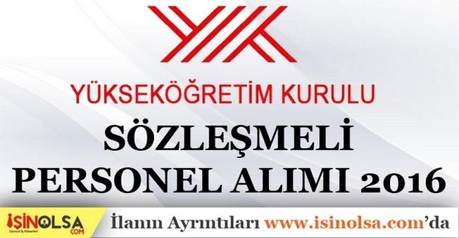 Yükseköğretim Kurulu Sözleşmeli Personel Alımı 2016