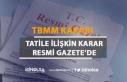 TBMM Tatile Girmesine İlişkin Karar Resmi Gazete'de...