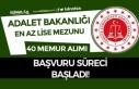 Adalet Bakanlığı En Az Lise Mezunu 40 Kadrolu Memur...