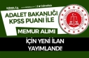 Adalet Bakanlığı Yeni İlan Yayımladı! KPSS İle...