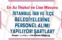 İstanbul İBB ve İlçe Belediyeleri Personel Alımı...