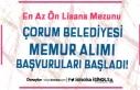 Çorum Belediyesi 60 KPSS İle Memur Alımı Başvuruları...